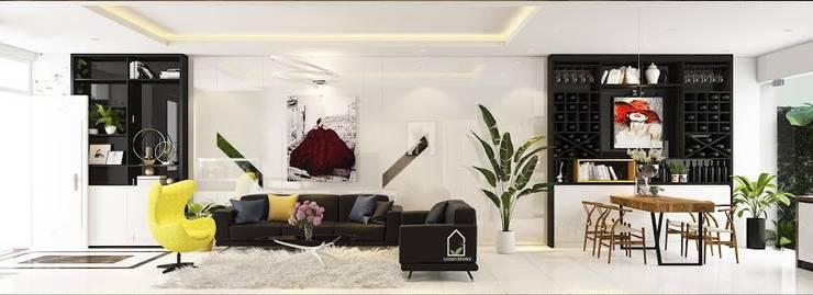 BIỆT THỰ VINHOME THĂNG LONG XANH NGÁT GIỮA LÒNG HÀ NỘI:  Living room by Green Interior