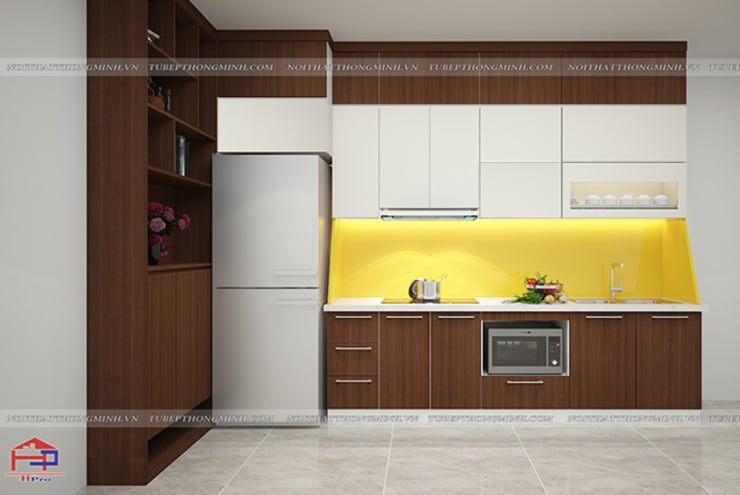 Hình ảnh thiết kế 3D mẫu tủ bếp laminate nhà anh Trung - Nguyễn Chánh:  Kitchen by Nội thất Hpro