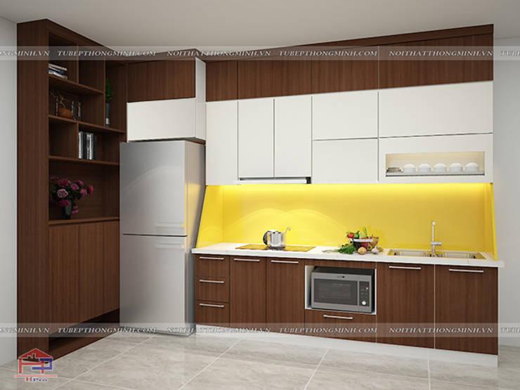 Hình ảnh thiết kế 3D bộ tủ bếp laminate và tủ đựng giày đa năng nhà anh Trung - Nguyễn Chánh:  Kitchen by Nội thất Hpro