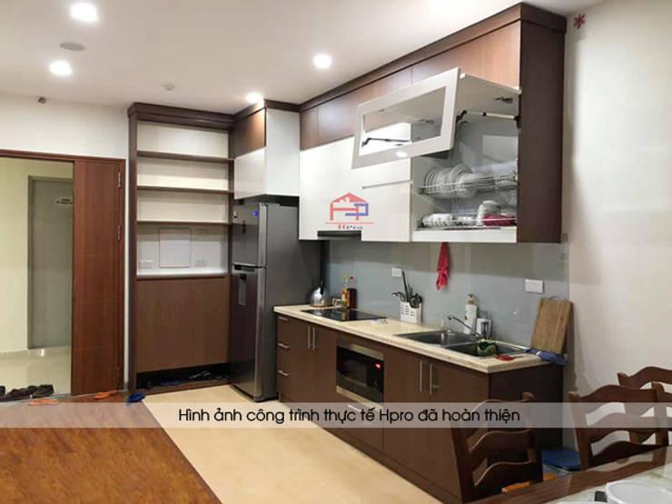 Hình ảnh thực tế bộ tủ bếp laminate nhà anh Trung - Nguyễn Chánh:  Kitchen by Nội thất Hpro