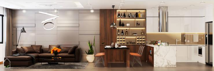 BIỆT THỰ TRÀN NGẬP MÀU SẮC TẠI ECOPARK:  Living room by Green Interior