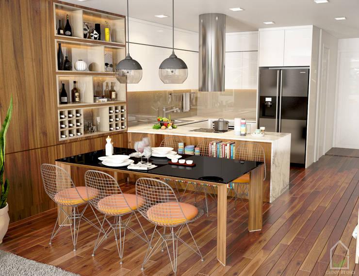 BIỆT THỰ TRÀN NGẬP MÀU SẮC TẠI ECOPARK:  Dining room by Green Interior