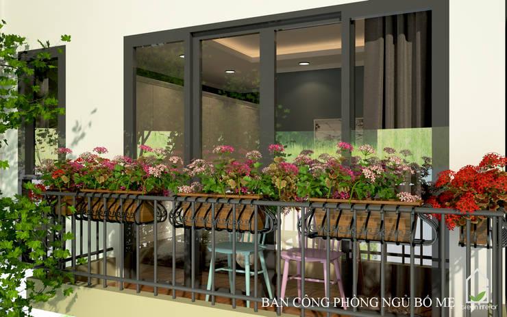 BIỆT THỰ TRÀN NGẬP MÀU SẮC TẠI ECOPARK:  Balconies, verandas & terraces  by Green Interior