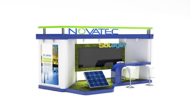 Propuesta de stand para NOVATEC:  de estilo  por Magrev - Diseño y construcción de espacios.,