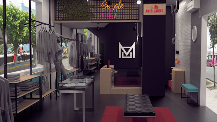 Diseño de boutique MOOREA en buenaventura.:  de estilo  por Magrev - Diseño y construcción de espacios.,