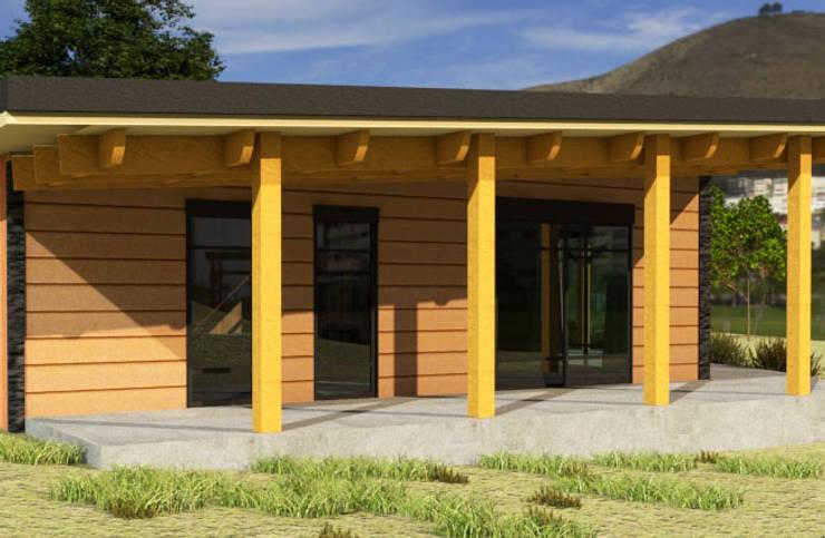 Diseño Cabaña de madera: Casas de madera de estilo  por CEC Espinoza y Canales LTDA