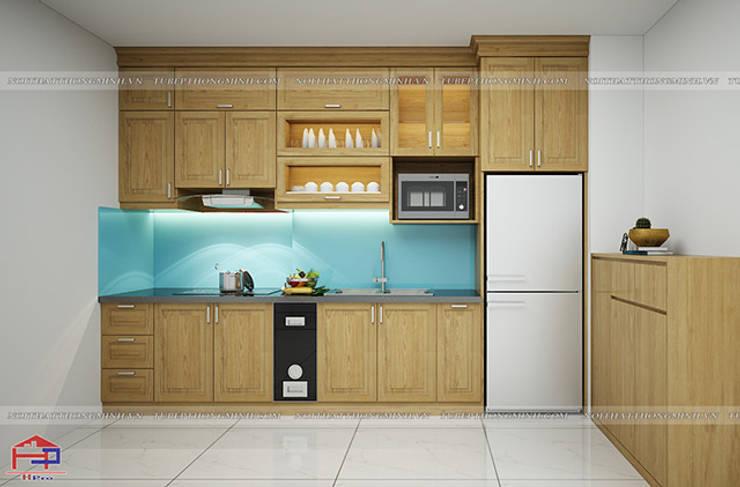 Hình ảnh thiết kế 3D mẫu tủ bếp gỗ sồi mỹ nhà chị Hằng - Bắc Ninh:  Kitchen by Nội thất Hpro