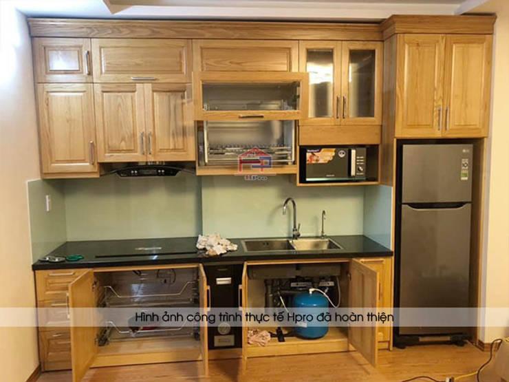 Hình ảnh thực tế bộ tủ bếp gỗ sồi mỹ chữ I nhà chị Hằng - Bắc Ninh:  Kitchen by Nội thất Hpro