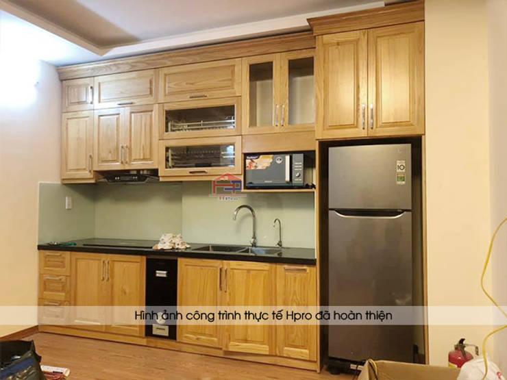 Hình ảnh thực tế bộ tủ bếp gỗ sồi mỹ màu vàng sáng nhà chị Hằng - Bắc Ninh:  Kitchen by Nội thất Hpro