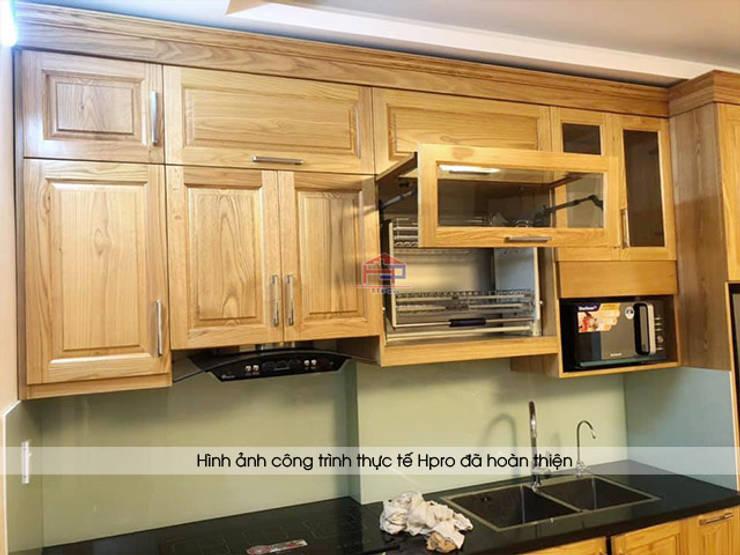 Hình ảnh thực tế mẫu tủ bếp gỗ sồi mỹ tự nhiên nhà chị Hằng - Bắc Ninh:  Kitchen by Nội thất Hpro