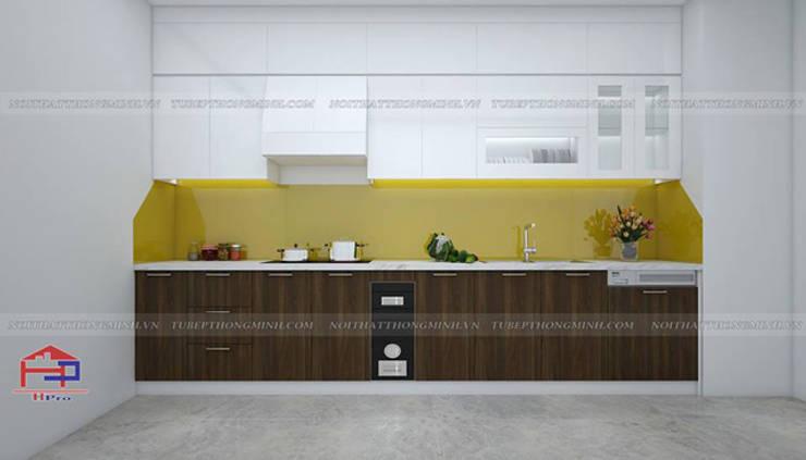 Hình ảnh thiết kế 3D bộ tủ bếp acrylic kết hợp laminate nhà chú Long - Tố Hữu:  Kitchen by Nội thất Hpro