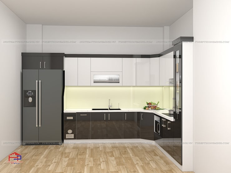 Hình ảnh thiết kế 3D bộ tủ bếp acrylic chữ L nhà anh Hoà - Lạng Sơn:  Kitchen by Nội thất Hpro