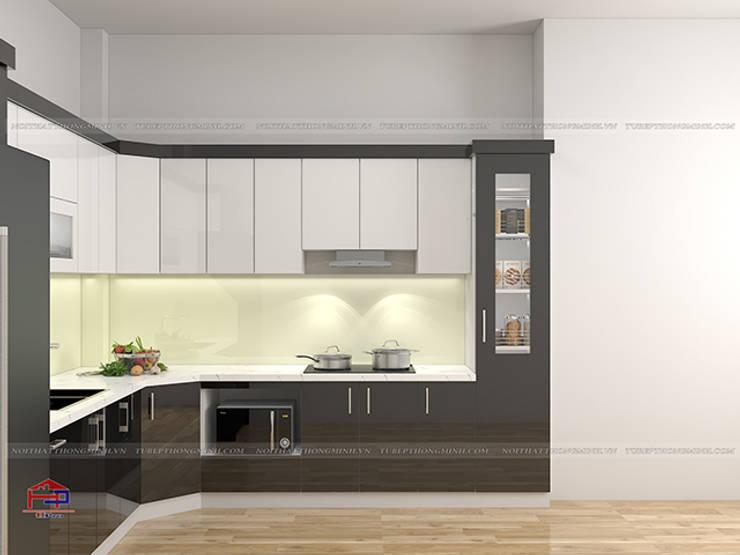 Hình ảnh thiết kế 3D mẫu tủ bếp acrylic chữ L nhà anh Hòa - Lạng Sơn:  Kitchen by Nội thất Hpro