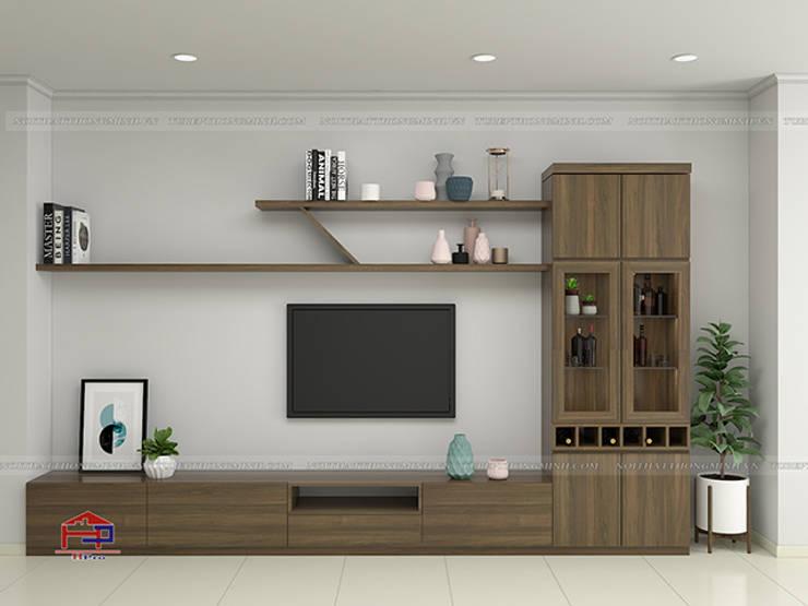 Hình ảnh thiết kế 3D kệ tivi và tủ trang trí trong phòng khách nhà anh Hòa - Lạng Sơn:  Living room by Nội thất Hpro