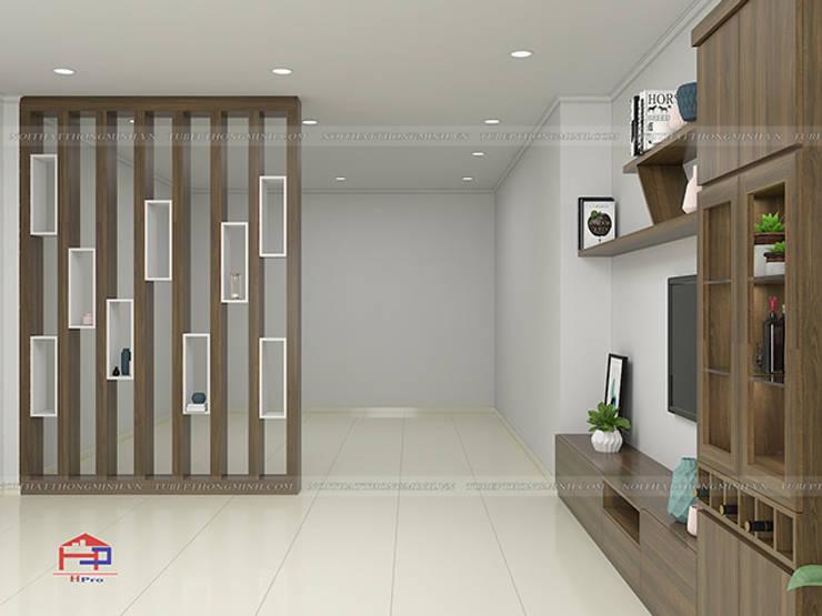 Hình ảnh thiết kế 3D vách ngăn trang trí nhà anh Hòa - Lạng Sơn:  Living room by Nội thất Hpro