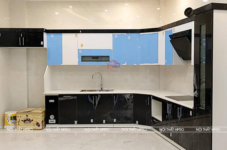 Hình ảnh thực tế bộ tủ bếp acrylic chữ L nhà anh Hoà - Lạng Sơn:  Kitchen by Nội thất Hpro