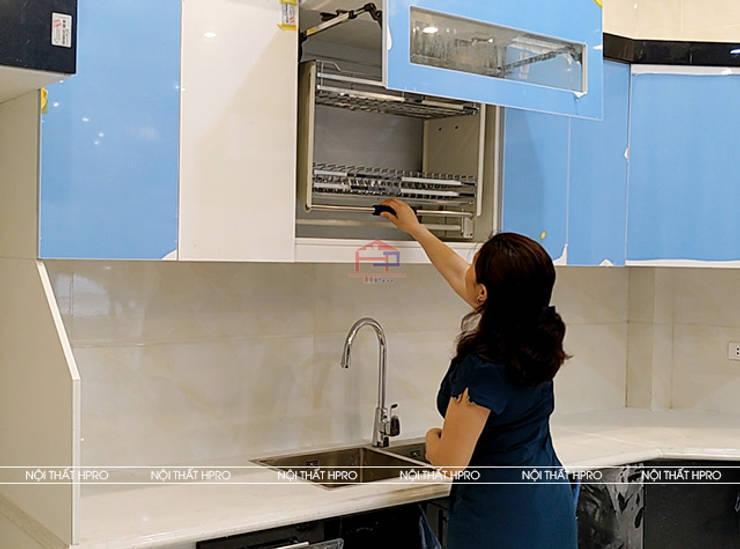 Hình ảnh thực tế bộ tủ bếp acrylic nhà anh Hòa - Lạng Sơn:  Kitchen by Nội thất Hpro