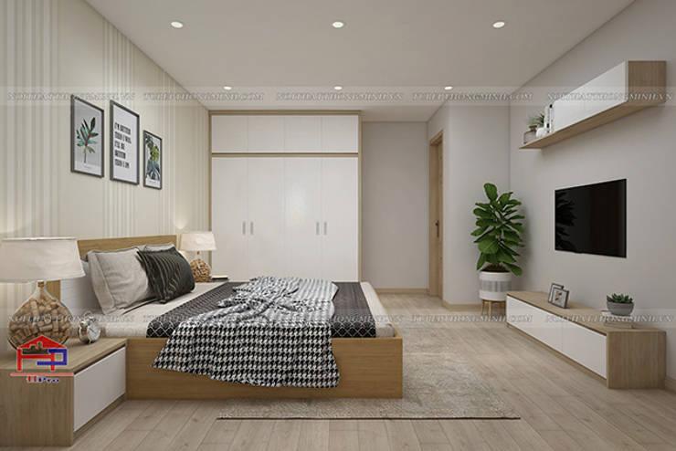 Hình ảnh 3D thiết kế nội thất không gian phòng ngủ master nhà anh Long - Nguyễn Đức Cảnh:  Bedroom by Nội thất Hpro,