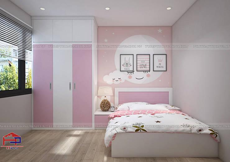 Hình ảnh 3D thiết kế không gian phòng ngủ bé gái nhà anh Long - Nguyễn Đức Cảnh:  Bedroom by Nội thất Hpro,