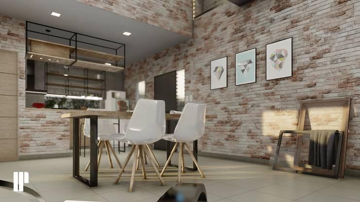 Salle à manger minimaliste par Estudio NP+a Minimaliste Briques