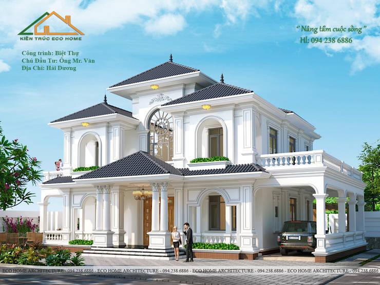 MẪU BIỆT THỰ TÂN CỔ ĐIỂN MÁI THÁI 2 TẦNG TẠI HẢI DƯƠNG:   by Công ty CP kiến trúc và xây dựng Eco Home,