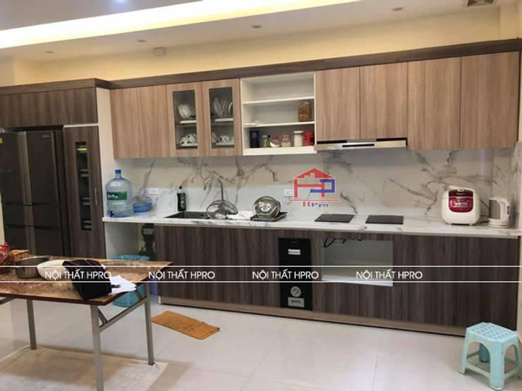 Hình ảnh thực tế bộ tủ bếp laminate nhà chú Tuấn - Nguyễn Sơn:  Kitchen by Nội thất Hpro,
