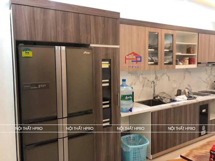 Hình ảnh thiết kế 3D bộ tủ bếp laminate hiện đại nhà chú Tuấn - Nguyễn Sơn:  Kitchen by Nội thất Hpro,