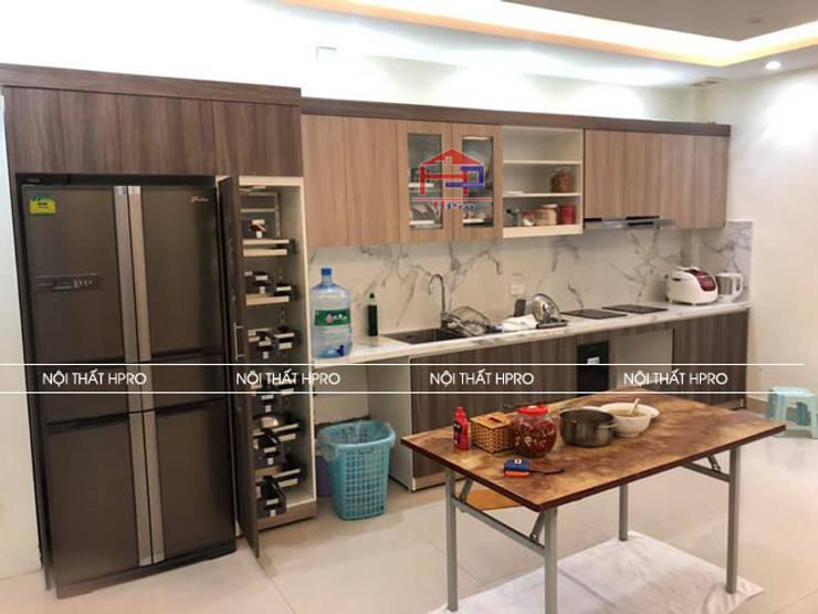 Hình ảnh thực tế bộ tủ bếp laminate chữ I hiện đại nhà chú Tuấn - Nguyễn Sơn:  Kitchen by Nội thất Hpro,