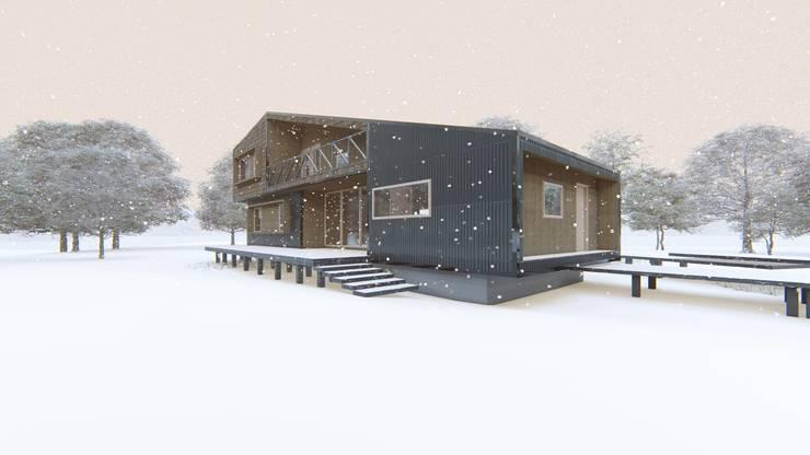 Diseño de Casa Rural en Coyhaique: Casas unifamiliares de estilo  por casa rural - Arquitectos en Coyhaique