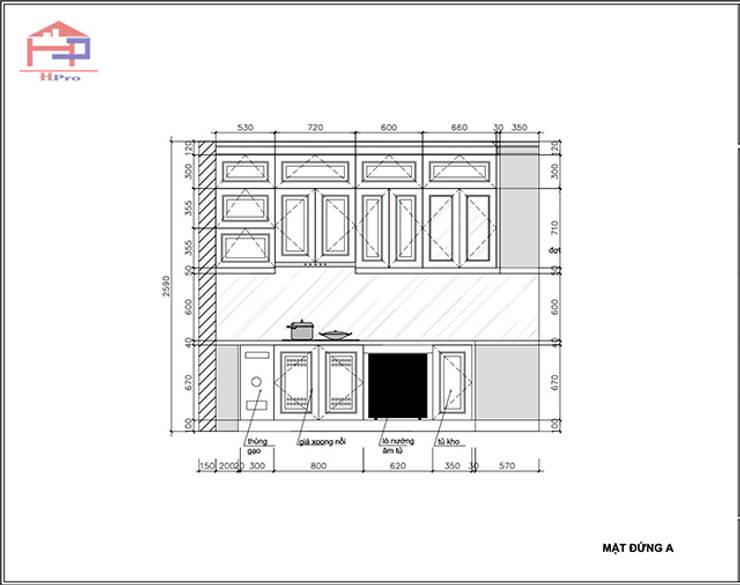 Bản vẽ chi tiết 2D tủ bếp gỗ sồi nga nhà cô Thúy – Láng Hạ – Mặt đứng nhìn bếp từ:  Kitchen by Nội thất Hpro,