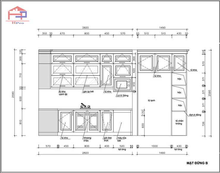 Bản vẽ chi tiết 2D tủ bếp gỗ sồi nga nhà cô Thúy – Láng Hạ – Mặt đứng nhìn chậu rửa:  Kitchen by Nội thất Hpro,