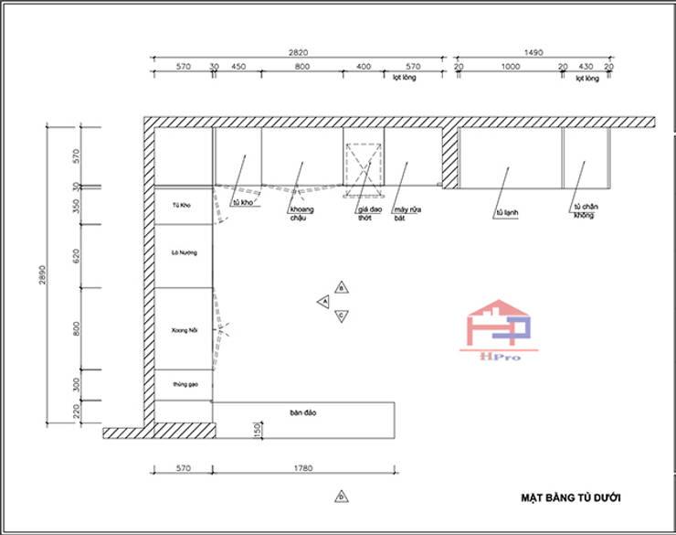 Bản vẽ chi tiết 2D tủ bếp gỗ sồi nga nhà cô Thúy – Láng Hạ – Mặt bằng tủ bếp dưới:  Kitchen by Nội thất Hpro,