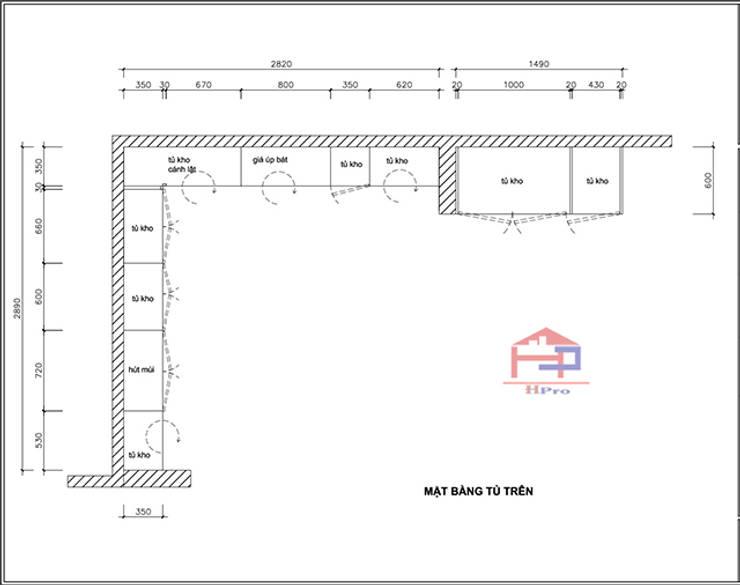 Bản vẽ chi tiết 2D tủ bếp gỗ sồi nga nhà cô Thúy – Láng Hạ – Mặt bằng tủ bếp trên:  Kitchen by Nội thất Hpro,