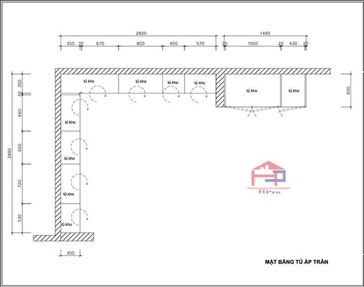 Bản vẽ chi tiết 2D tủ bếp gỗ sồi nga nhà cô Thúy – Láng Hạ – Mặt bằng tủ bếp kịch trần:  Kitchen by Nội thất Hpro,