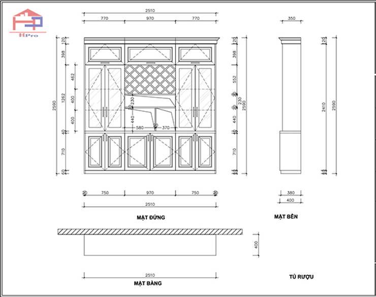 Bản vẽ chi tiết 2D tủ rượu gỗ sồi nga nhà cô Thúy – Láng Hạ:  Kitchen by Nội thất Hpro,