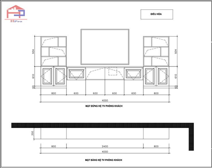 Bản vẽ chi tiết 2D kệ ti vi phòng khách gỗ sồi nga nhà cô Thúy – Láng Hạ:  Living room by Nội thất Hpro,