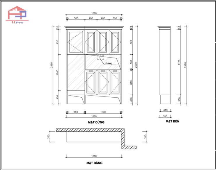 Bản vẽ 2D tủ giày gỗ sồi nga nhà cô Thúy – view 1:  Living room by Nội thất Hpro,