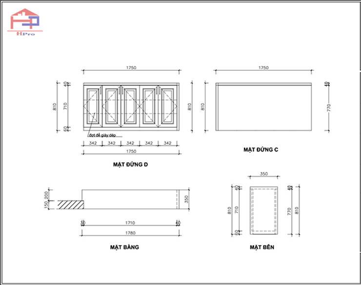 Bản vẽ 2D tủ giày gỗ sồi nga nhà cô Thúy – view 2:  Living room by Nội thất Hpro,
