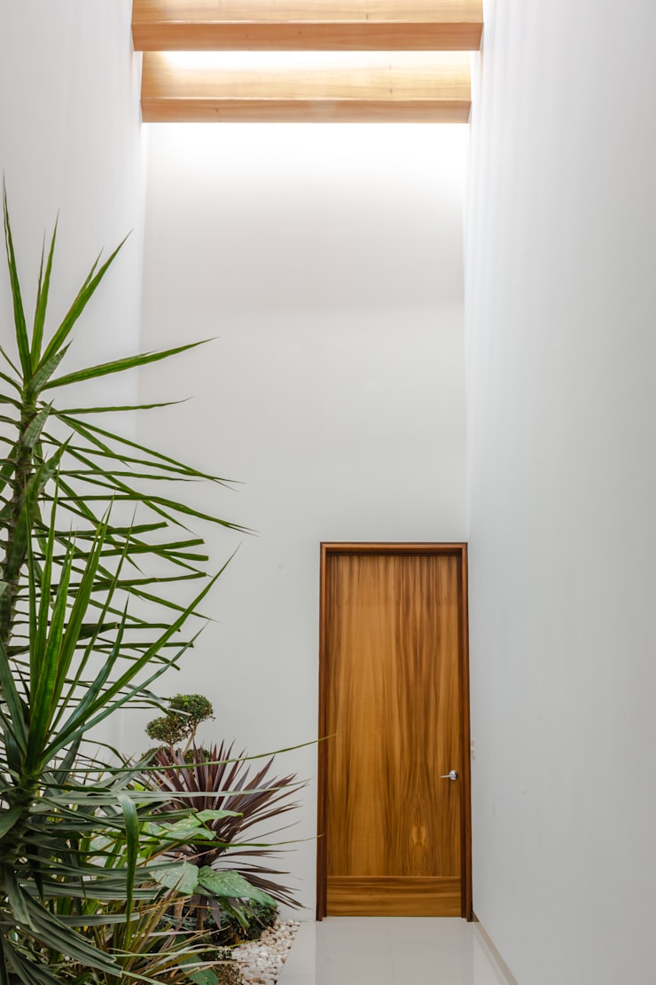 PASILLO: Puertas de madera de estilo  por GENETICA ARQ STUDIO, Moderno Madera Acabado en madera
