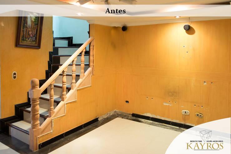 EL Estado ANTERIOR: Paredes y suelos de estilo  por KAYROS ARQUITECTURA DISEÑO INTERIOR,