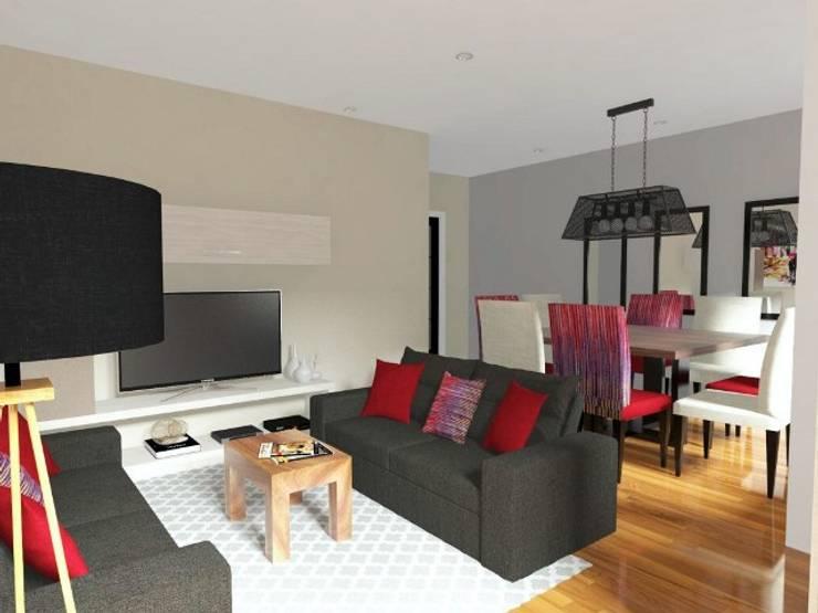 DISEÑO 3D día: Salas / recibidores de estilo  por Deco Abitare, Moderno