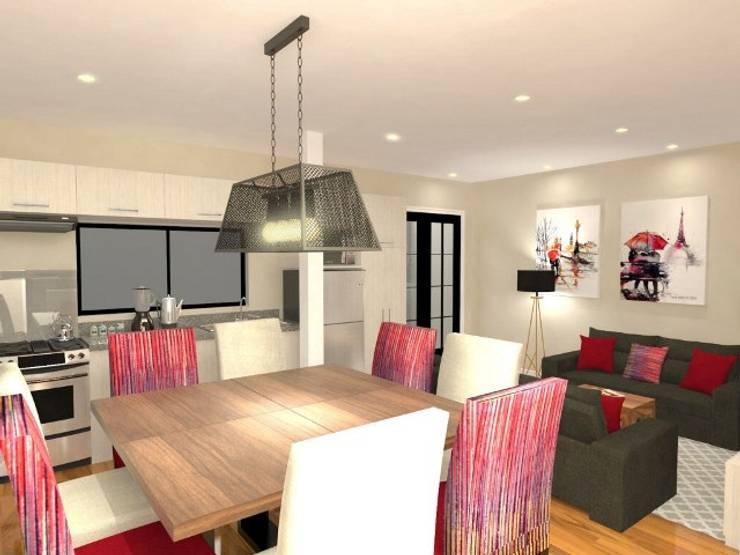 DISEÑO 3D  aprobado por el Cliente: Comedores de estilo  por Deco Abitare, Moderno