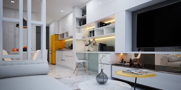 Chi tiết thiết kế nội thất nhà Cô Dung dự án Căn hộ Garden Gate:  Living room by Công ty TNHH sửa chữa nhà phố trọn gói An Phú 0911.120.739,