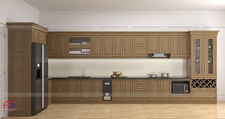 Hình ảnh thiết kế 3D bộ tủ bếp gỗ sồi mỹ nhà chị Thập - Hải Phòng:  Kitchen by Nội thất Hpro,