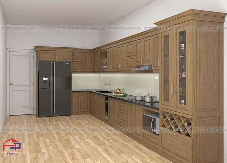 Hình ảnh thiết kế 3D bộ tủ bếp gỗ sồi mỹ kèm tủ rượu nhà chị Thập - Hải Phòng:  Kitchen by Nội thất Hpro,