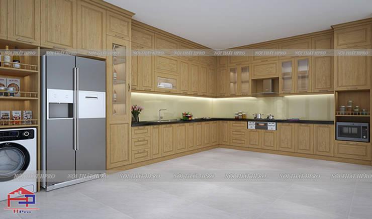 Hình ảnh thiết kế 3D bộ tủ bếp gỗ sồi nga nhà anh Nam - Hoàng Quốc Việt:  Kitchen by Nội thất Hpro,