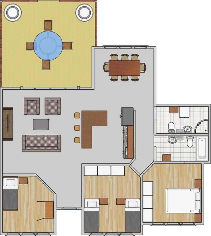 Vivienda Unifamiliar 1 Planta, 140 M2: Casas de madera de estilo  por CEC Espinoza y Canales LTDA