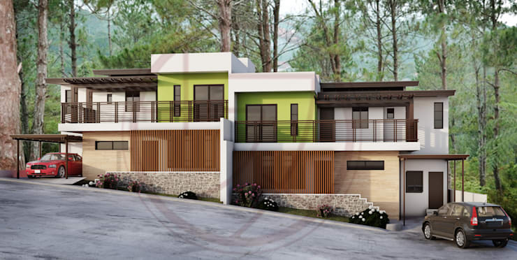 Duplex Residential:  Multi-Family house by Kenchiku 2600