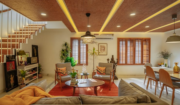 Living room by Mr. Blueprint, Tropical Wood Wood effect