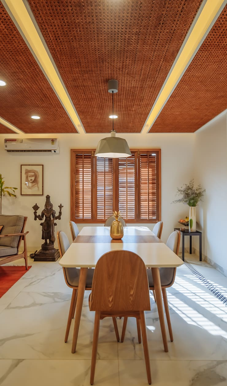 Dining room by Mr. Blueprint, Tropical Wood Wood effect